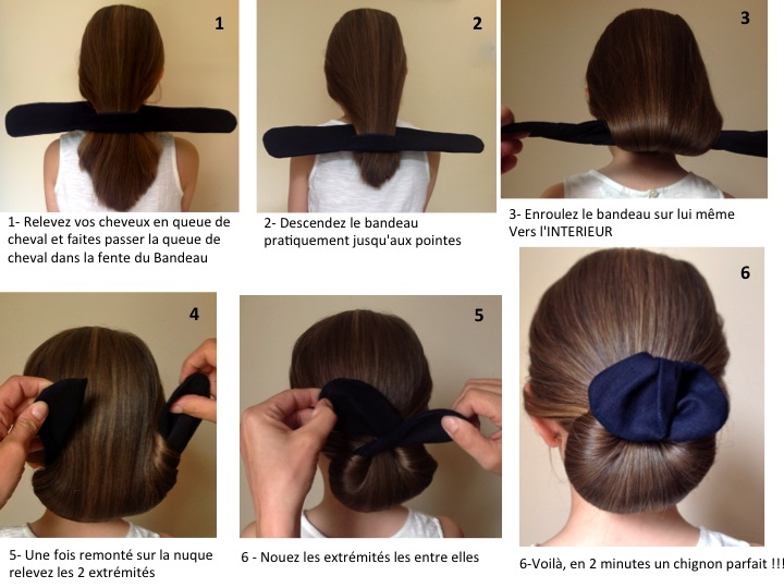 Mode d emploi le chignon rond le bandeau magic - Comment faire un chignon flou ...